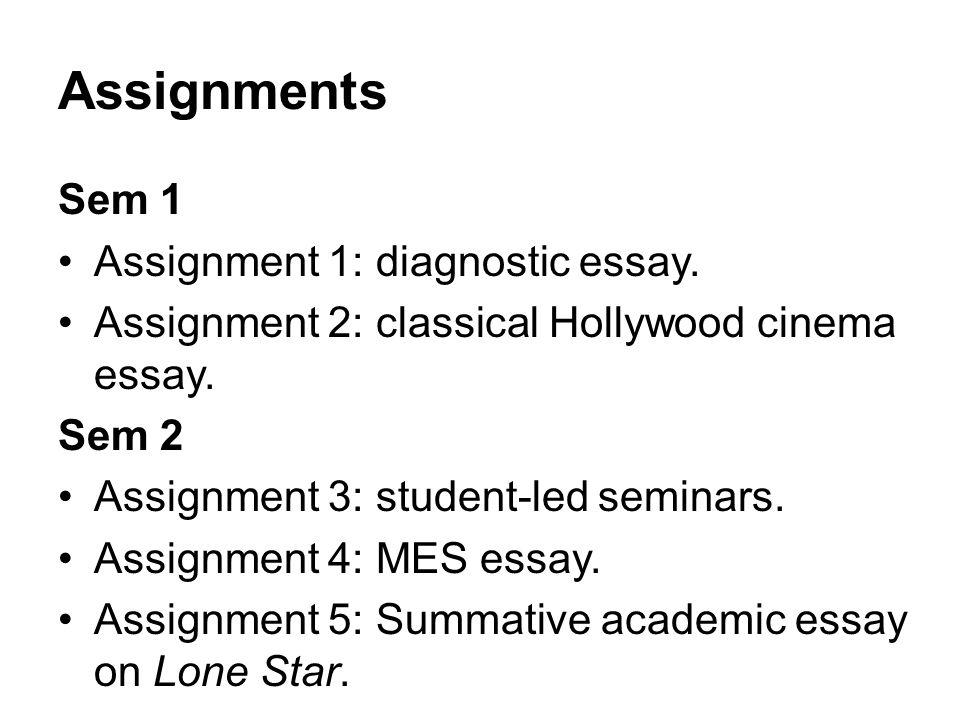 Assignments Sem 1 Assignment 1: diagnostic essay.