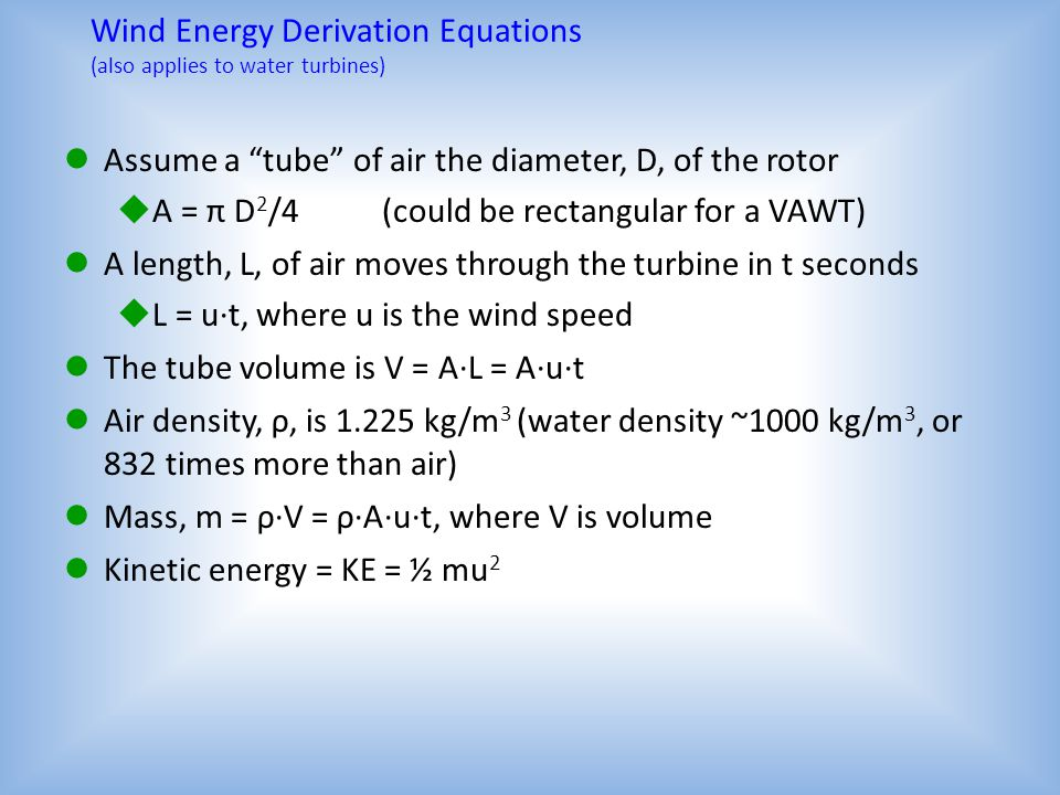 Wind Energy Derivation Equations