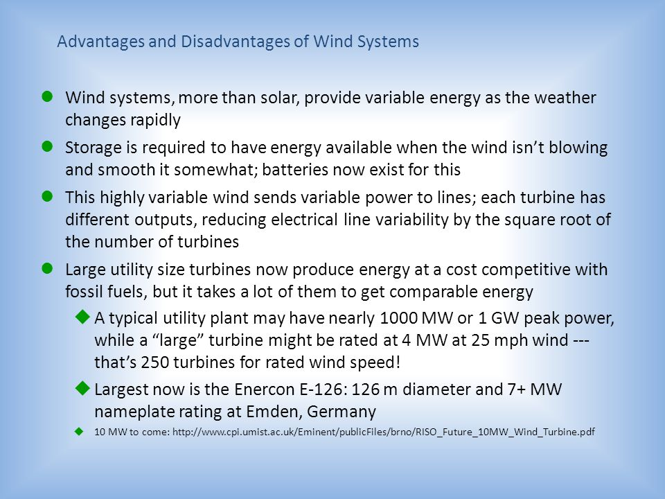 Advantages and Disadvantages of Wind Systems