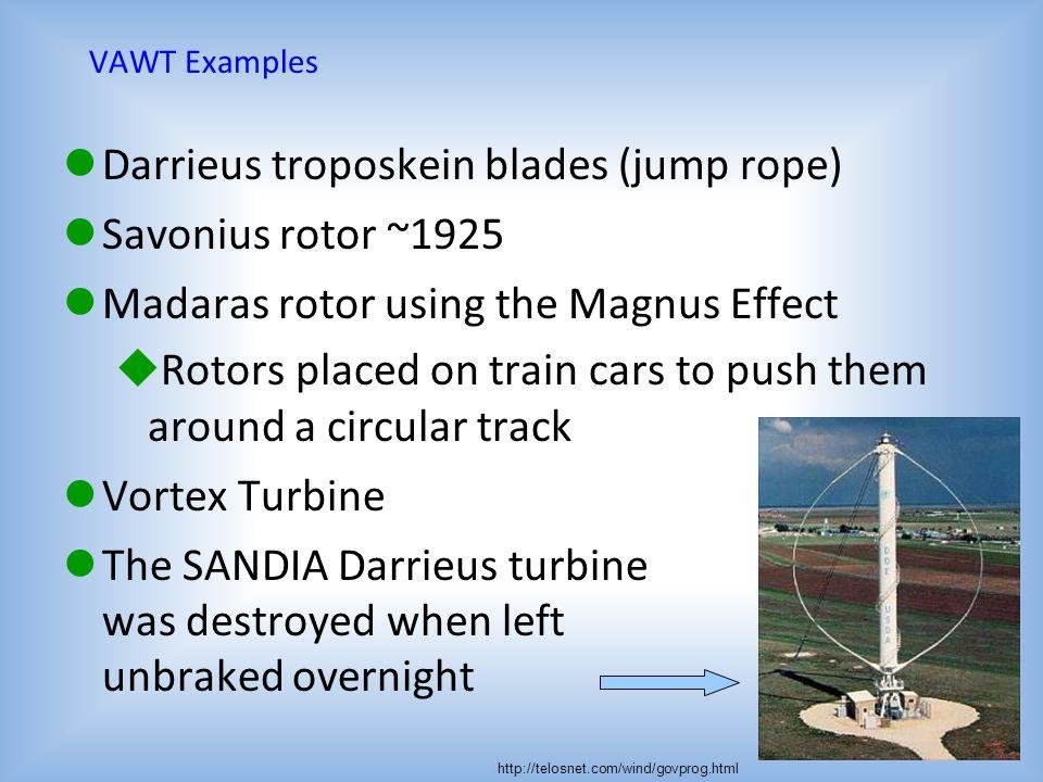 Darrieus troposkein blades (jump rope) Savonius rotor ~1925