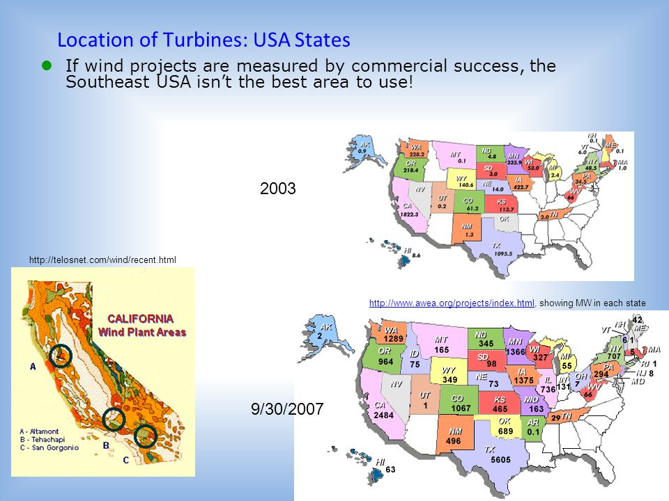 Location of Turbines: USA States