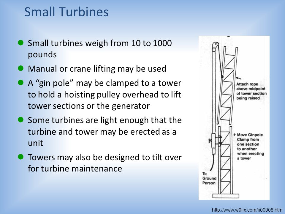 Small Turbines Small turbines weigh from 10 to 1000 pounds