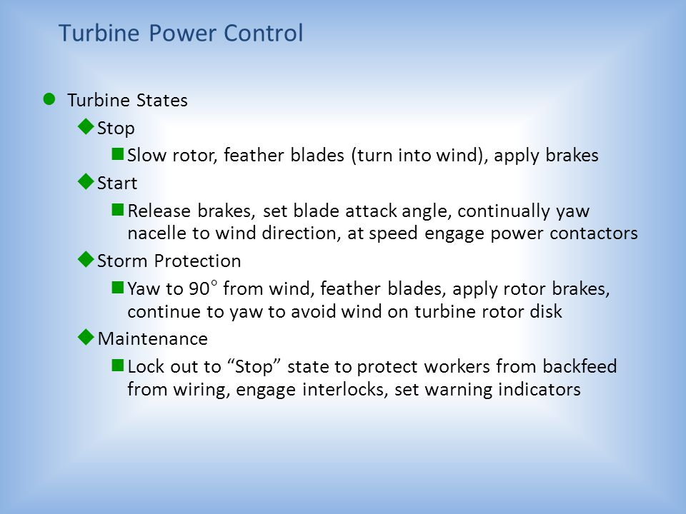 Turbine Power Control Turbine States Stop