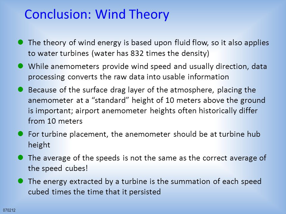 Conclusion: Wind Theory