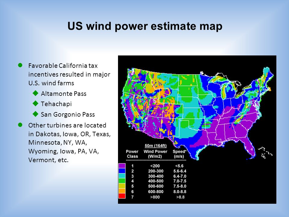 US wind power estimate map