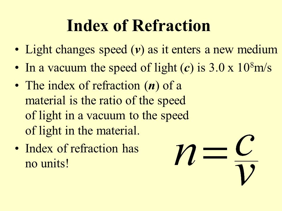 Index of Refraction Light changes speed (v) as it enters a new medium