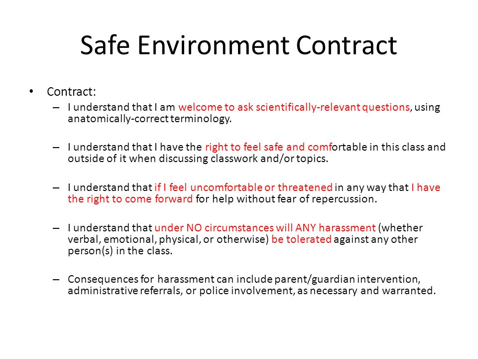 Safe Environment Contract