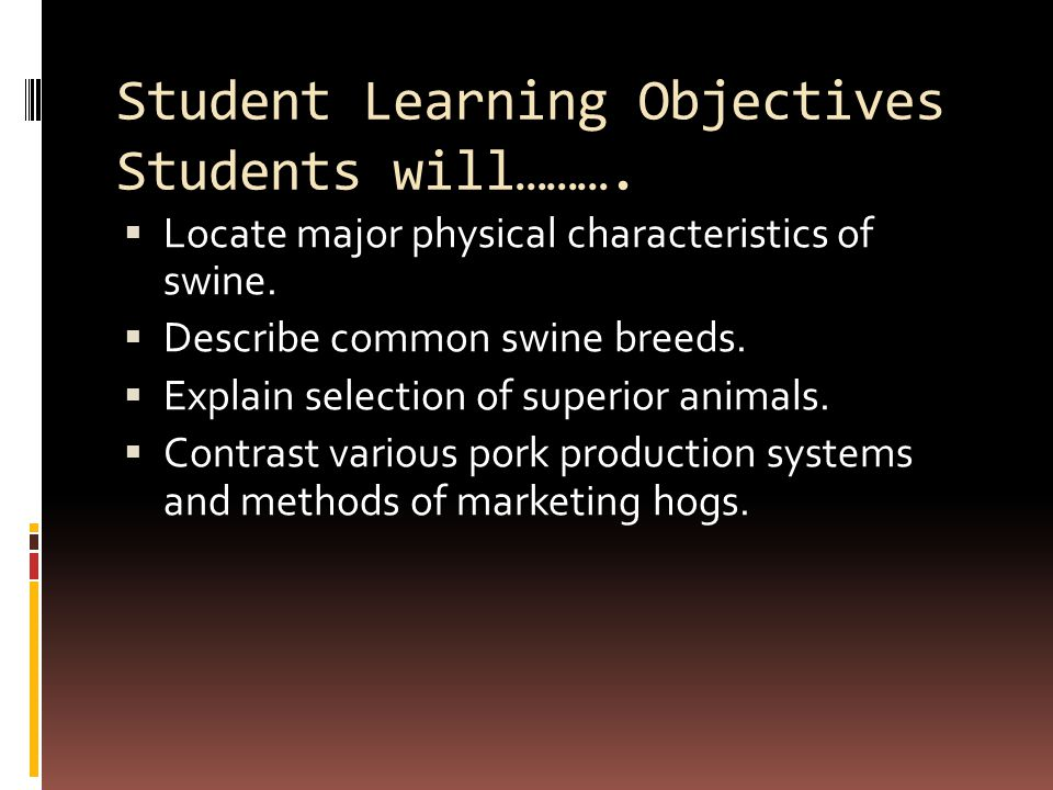 Student Learning Objectives Students will……….