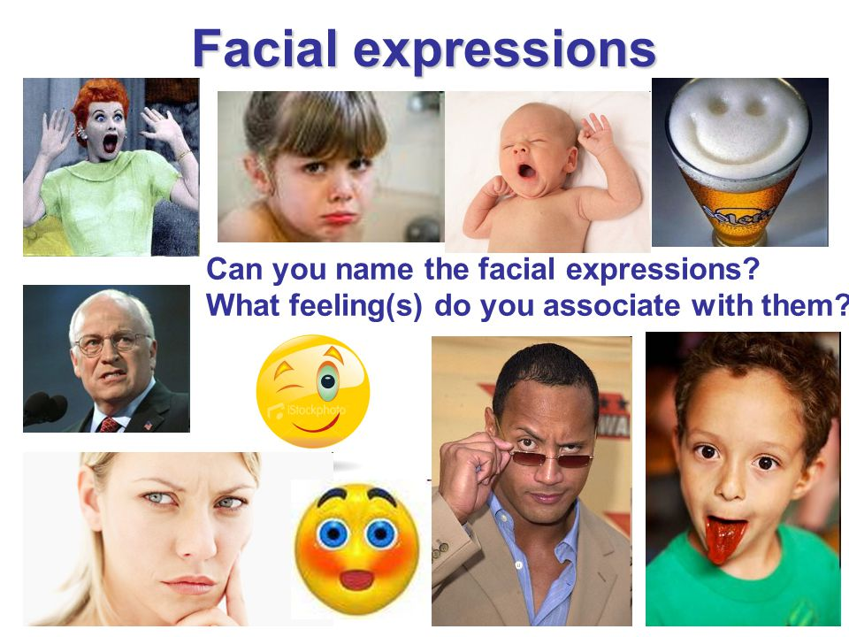 Facial expressions Can you name the facial expressions