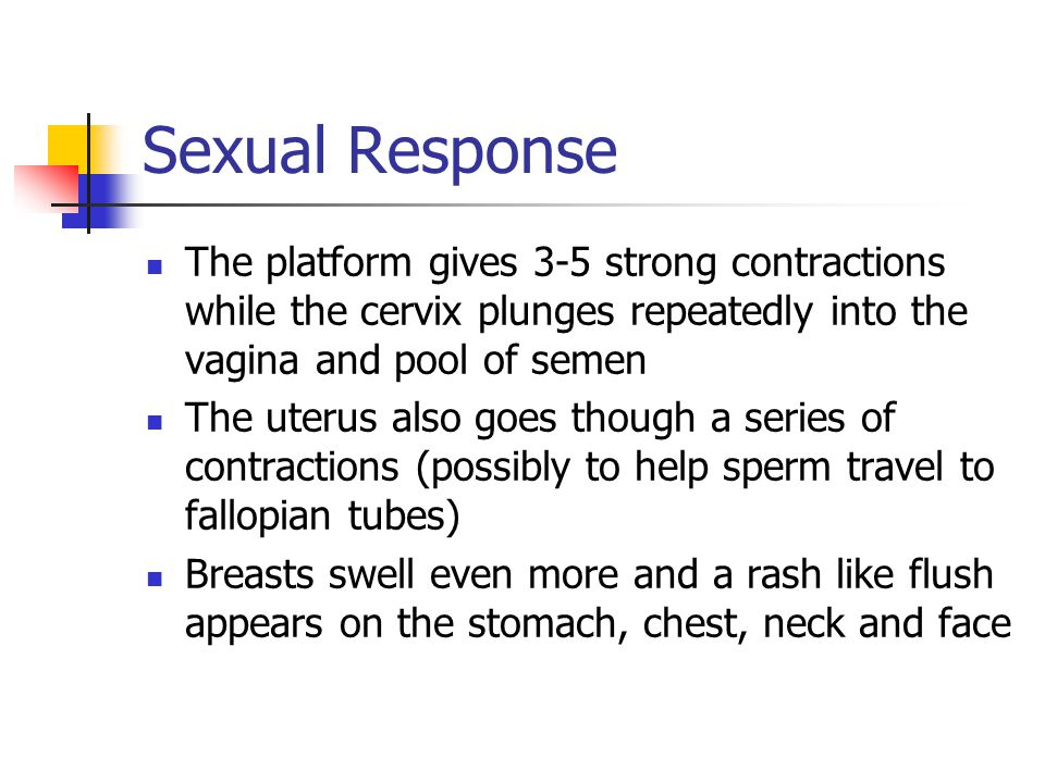Sexual Response The platform gives 3-5 strong contractions while the cervix plunges repeatedly into the vagina and pool of semen.