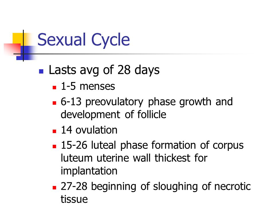 Sexual Cycle Lasts avg of 28 days 1-5 menses