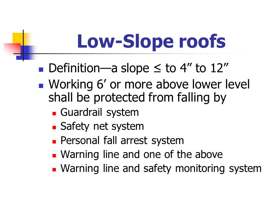 Low-Slope roofs Definition—a slope ≤ to 4 to 12