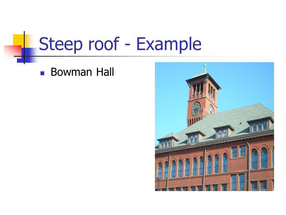 Steep roof - Example Bowman Hall