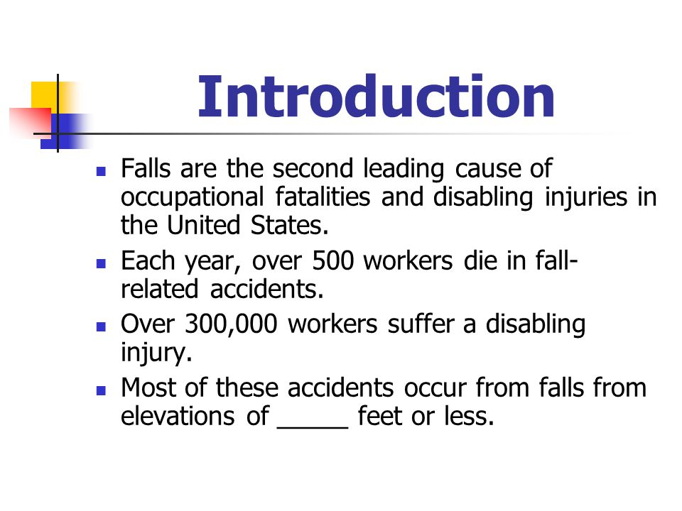 Introduction Falls are the second leading cause of occupational fatalities and disabling injuries in the United States.