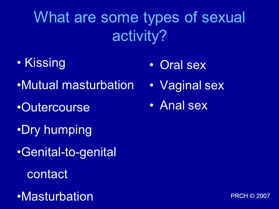 What are some types of sexual activity