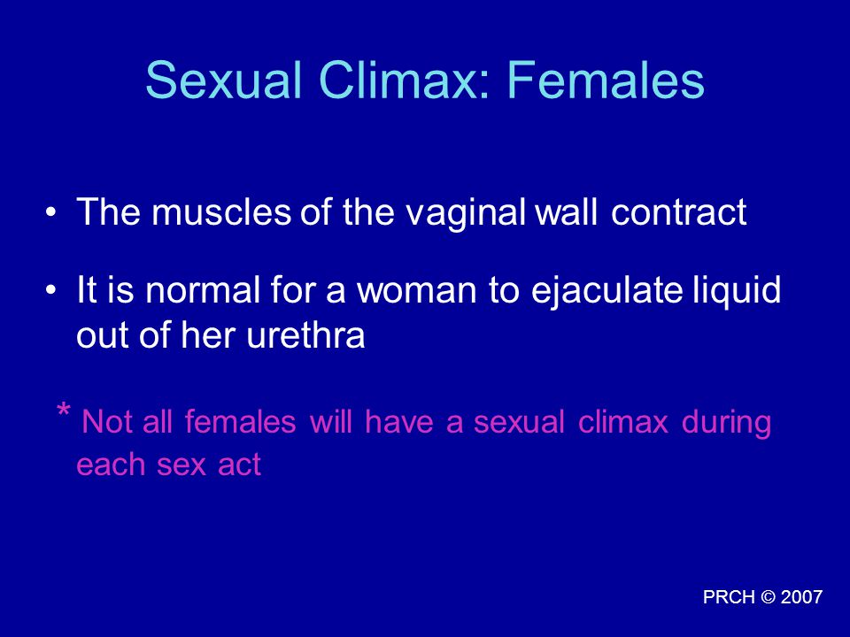 Sexual Climax: Females