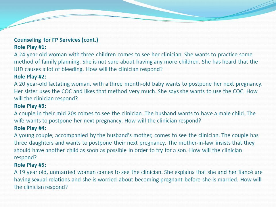 Counseling for FP Services (cont