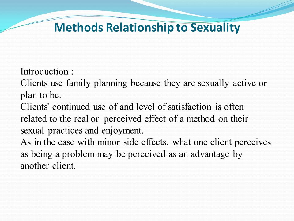 Methods Relationship to Sexuality