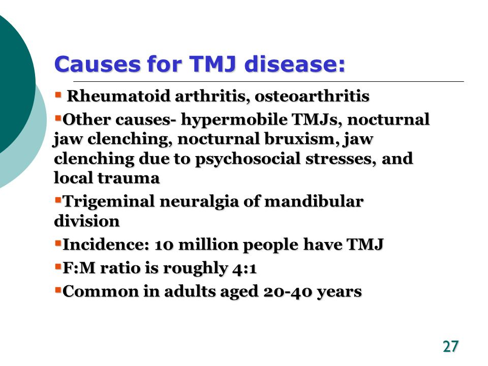 Causes for TMJ disease: