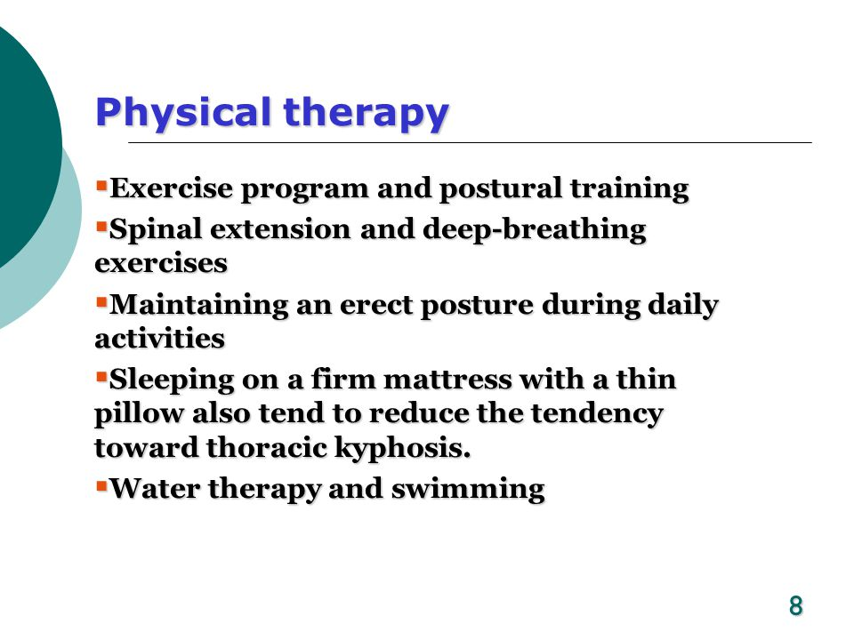 Physical therapy Exercise program and postural training