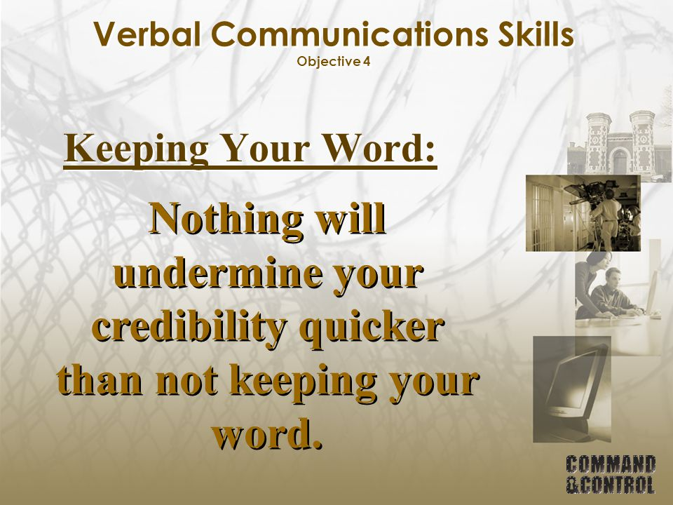Verbal Communications Skills Objective 4
