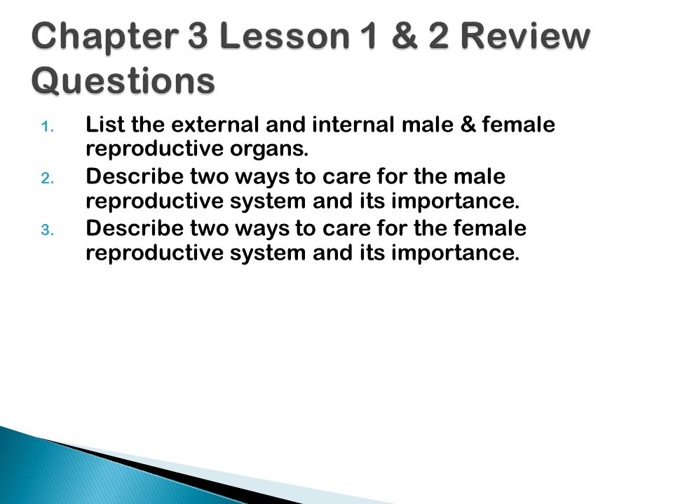 Chapter 3 Lesson 1 & 2 Review Questions