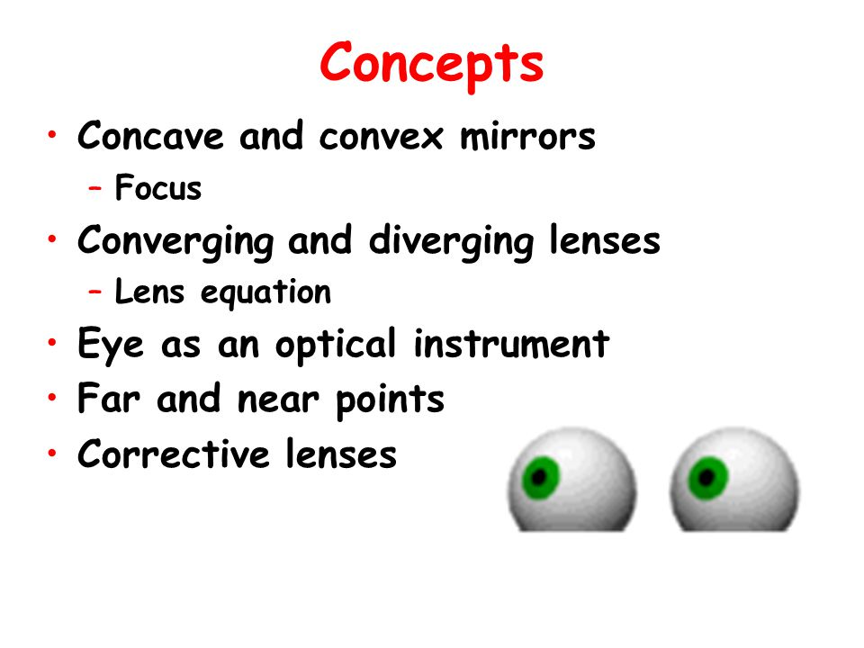 Concepts Concave and convex mirrors Converging and diverging lenses