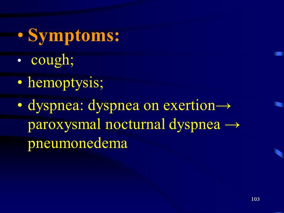 Symptoms: hemoptysis;