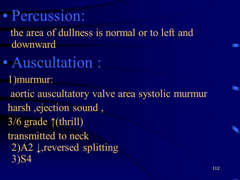 Percussion: Auscultation :
