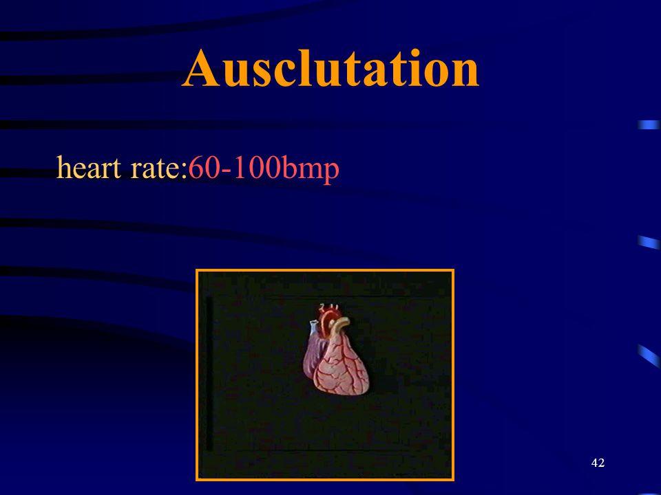 Ausclutation heart rate:60-100bmp