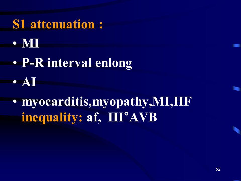 S1 attenuation : MI P-R interval enlong AI myocarditis,myopathy,MI,HF inequality: af, III°AVB