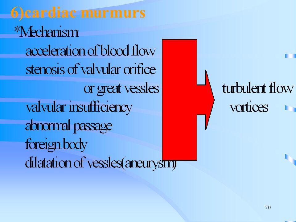 6)cardiac murmurs
