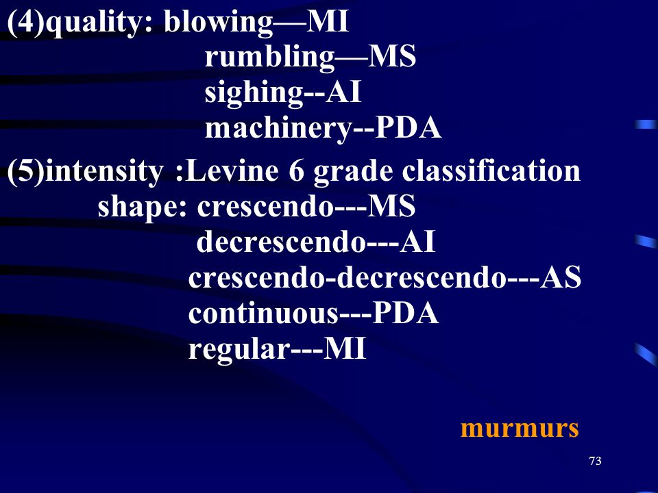 (4)quality: blowing—MI rumbling—MS sighing--AI machinery--PDA
