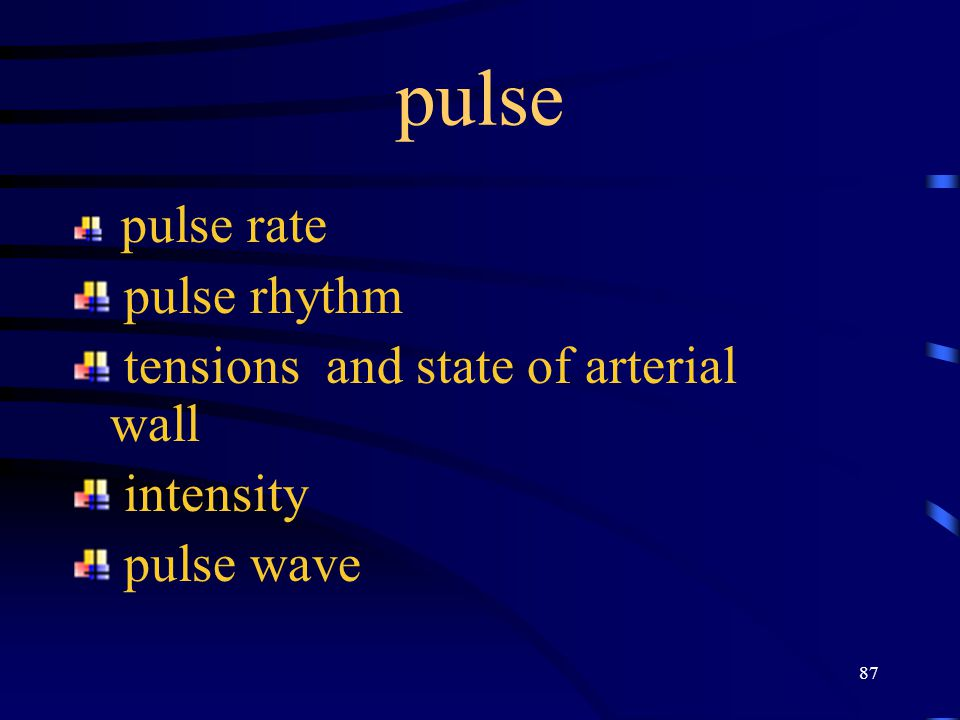 pulse pulse rhythm tensions and state of arterial wall intensity