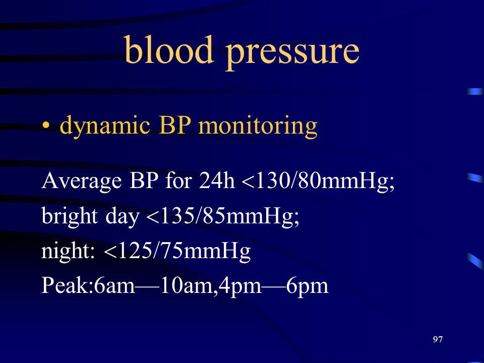 blood pressure dynamic BP monitoring Average BP for 24h 130/80mmHg;