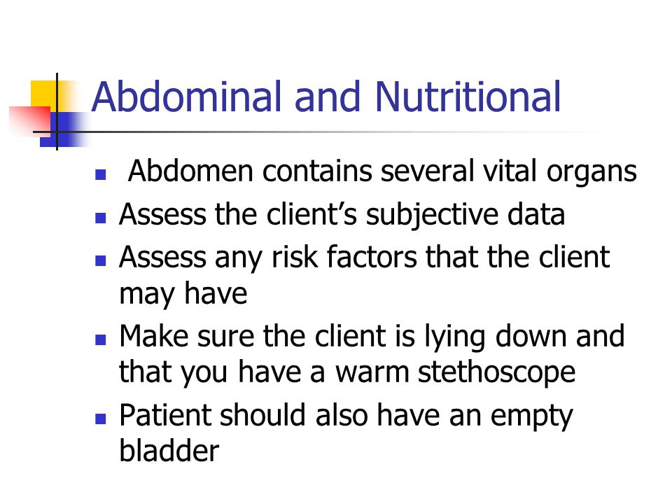 Abdominal and Nutritional