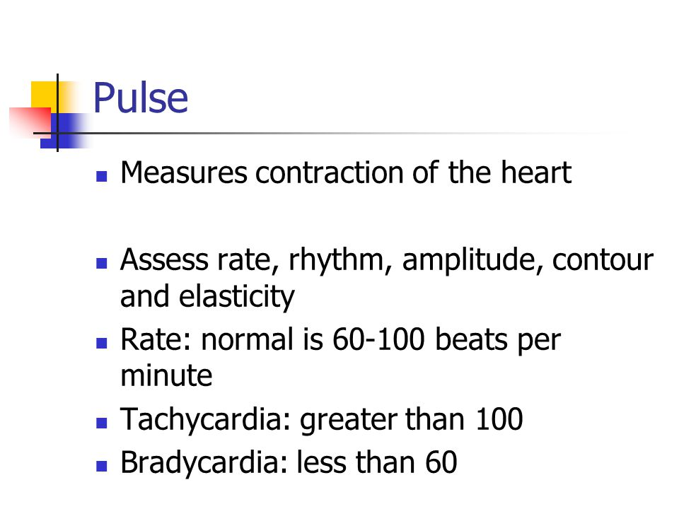 Pulse Measures contraction of the heart
