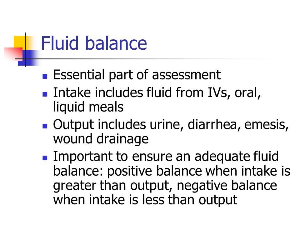 Fluid balance Essential part of assessment