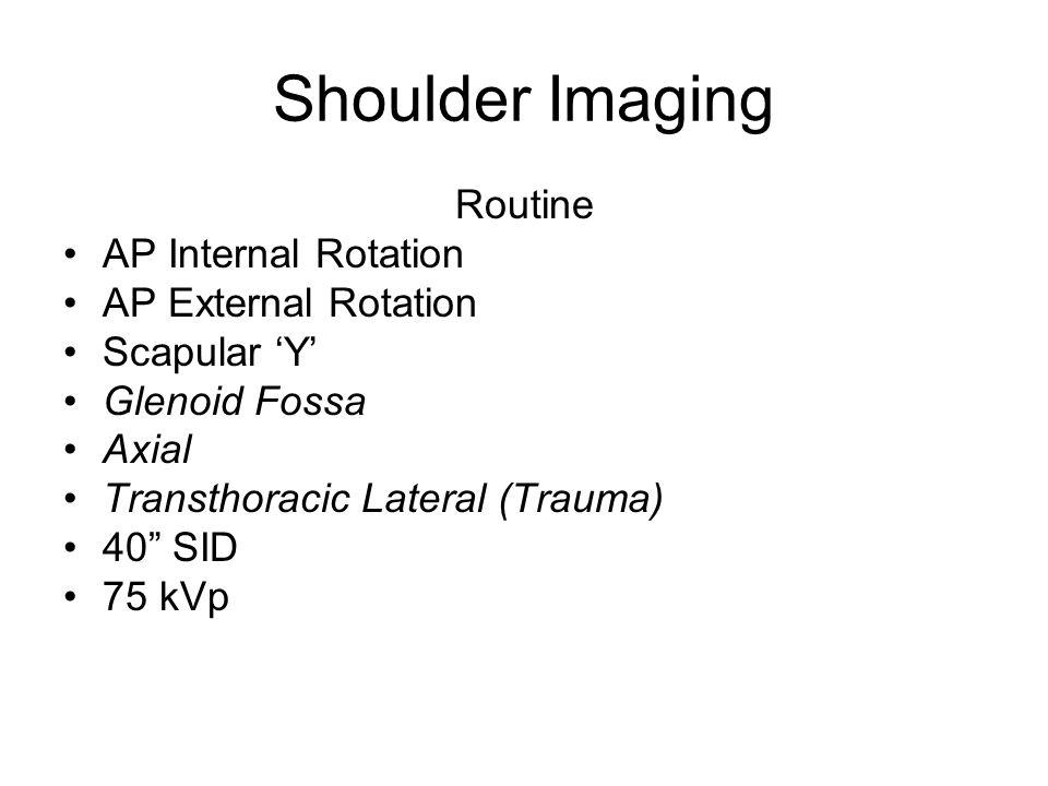 Shoulder Imaging Routine AP Internal Rotation AP External Rotation