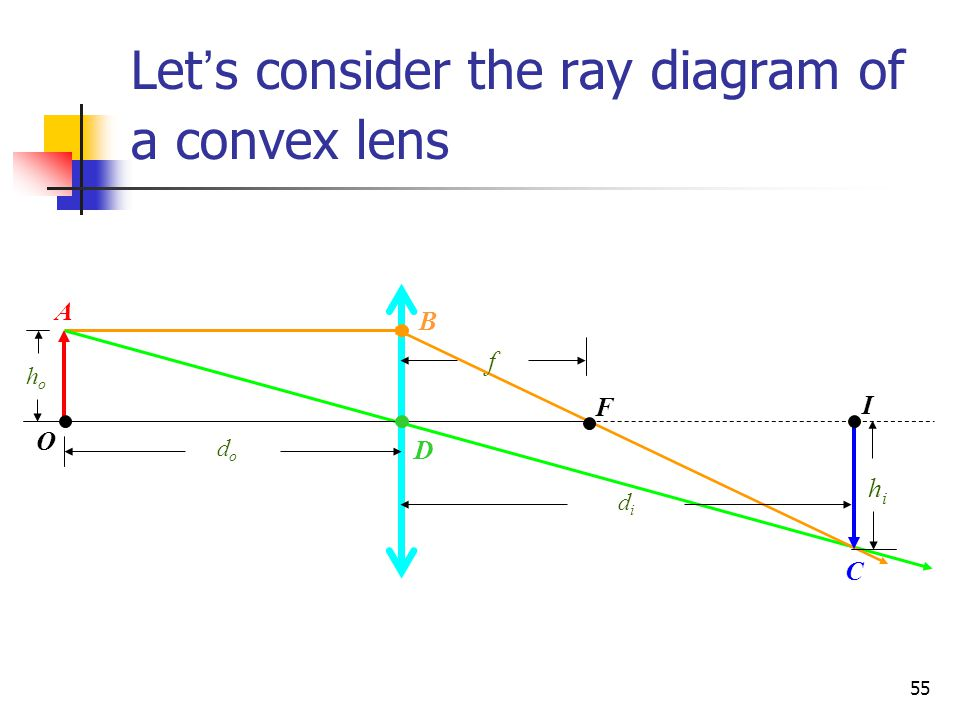 Let's consider the ray diagram of a convex lens