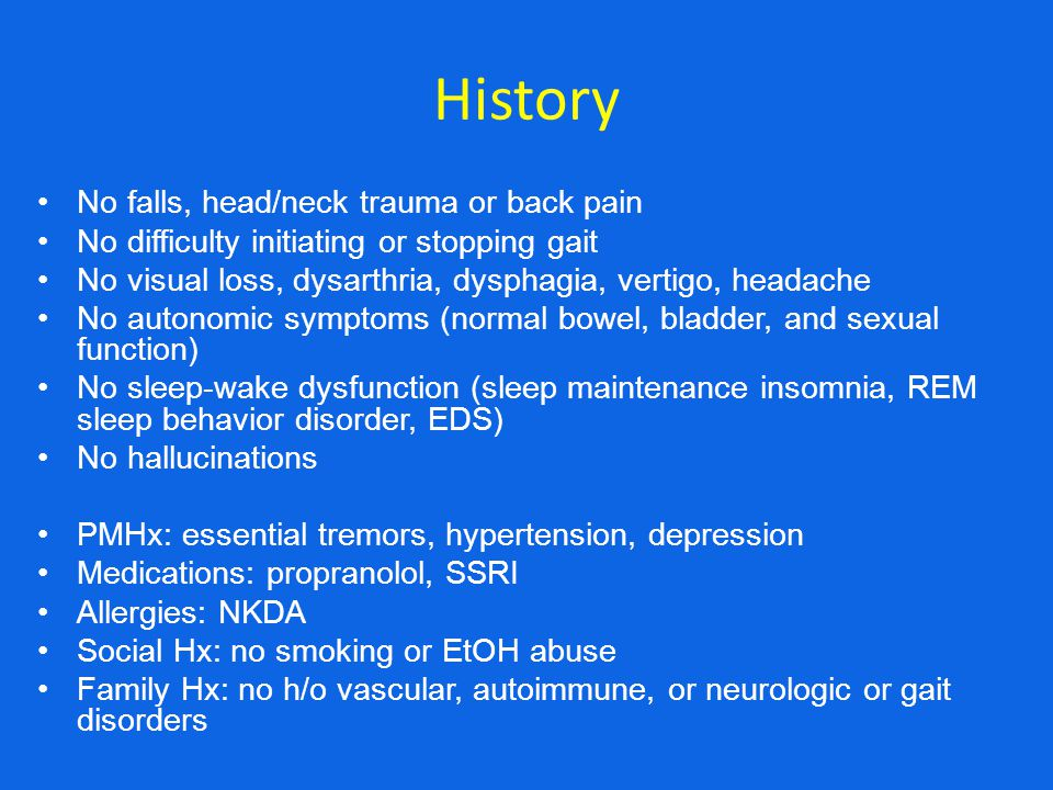 History No falls, head/neck trauma or back pain