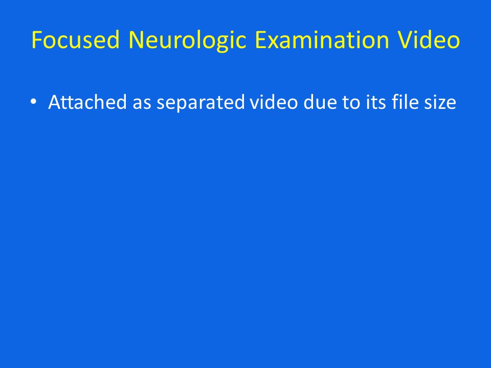 Focused Neurologic Examination Video