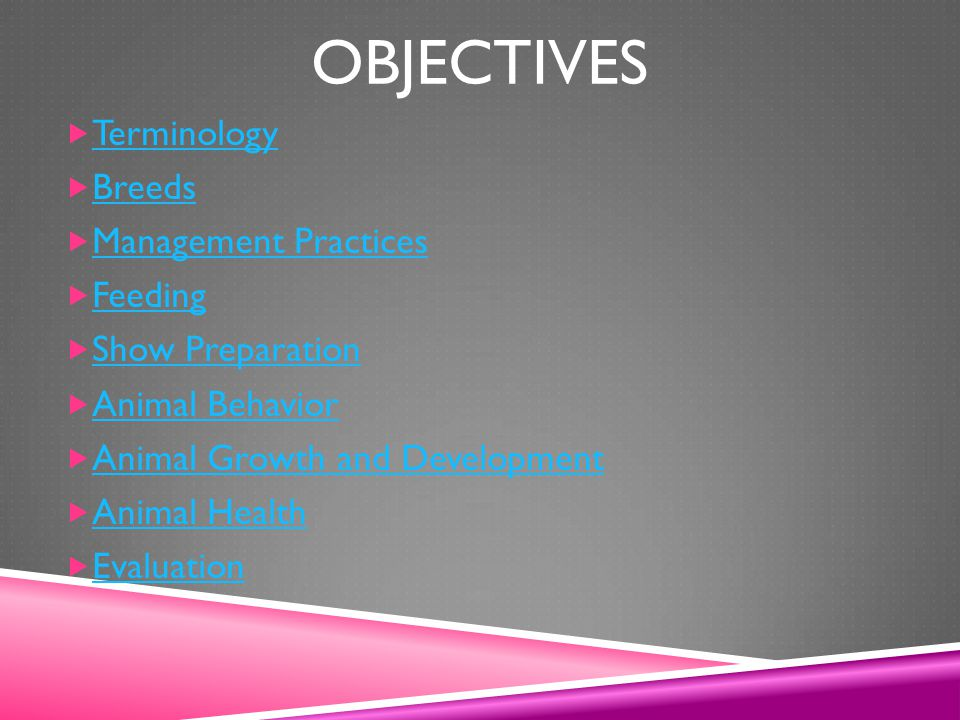 Objectives Terminology Breeds Management Practices Feeding