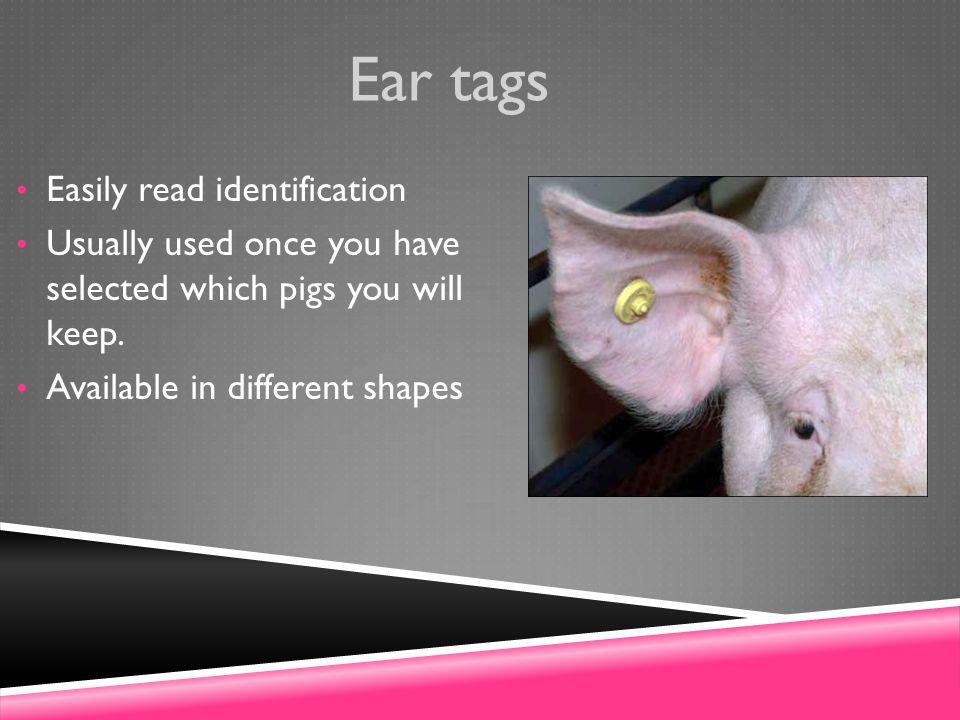 Ear tags Easily read identification