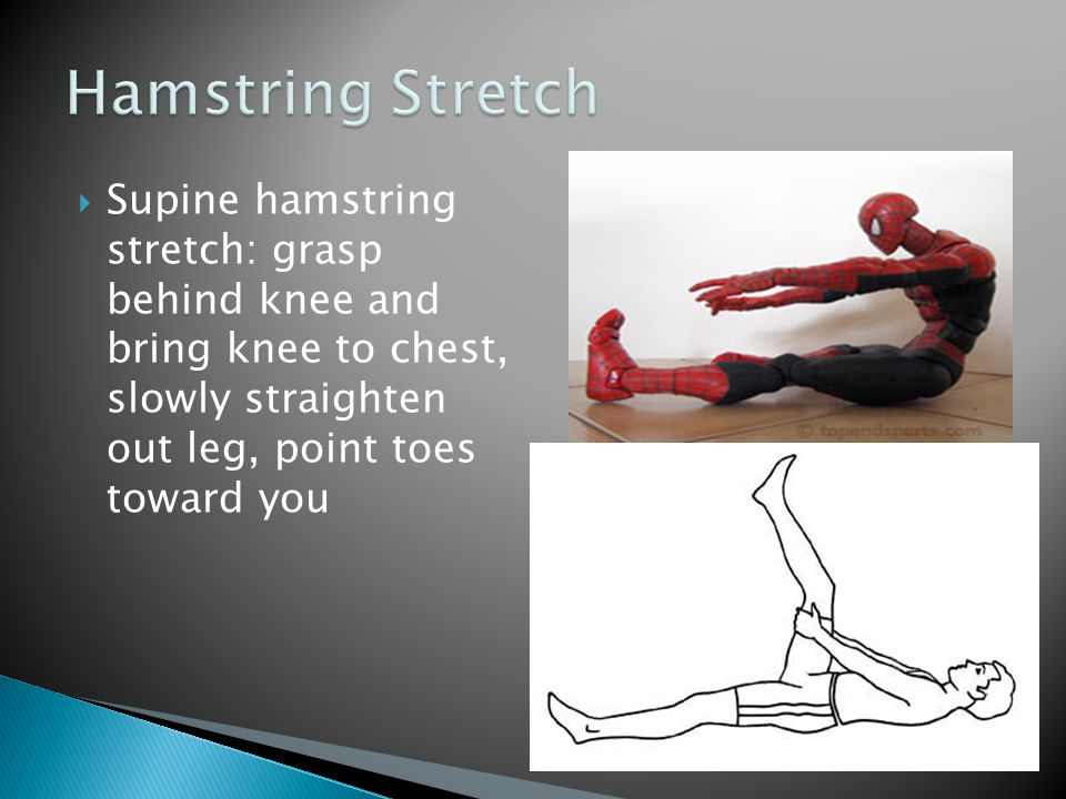 Hamstring Stretch Supine hamstring stretch: grasp behind knee and bring knee to chest, slowly straighten out leg, point toes toward you.