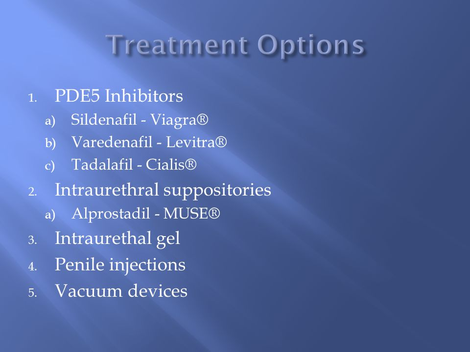 Treatment Options PDE5 Inhibitors Intraurethral suppositories