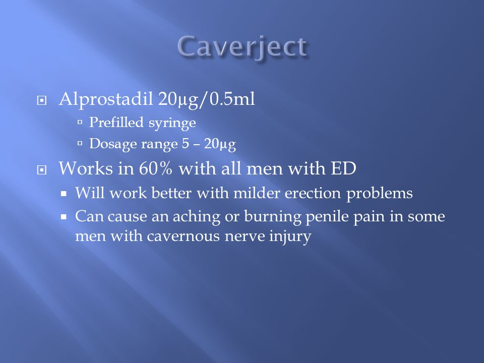 Caverject Alprostadil 20µg/0.5ml Works in 60% with all men with ED
