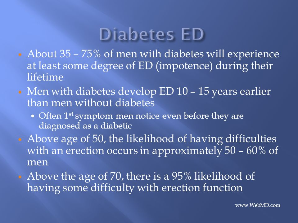 Diabetes ED About 35 – 75% of men with diabetes will experience at least some degree of ED (impotence) during their lifetime.