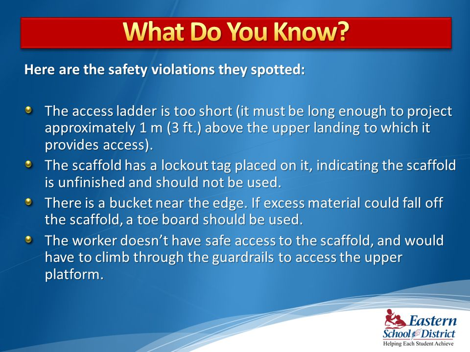 What Do You Know Here are the safety violations they spotted: