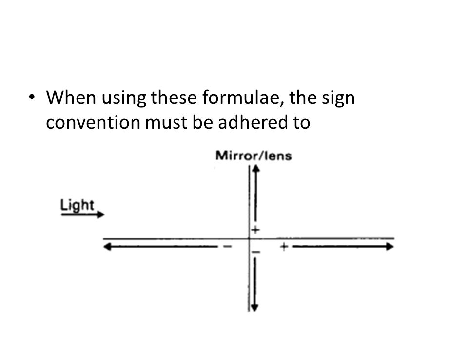 When using these formulae, the sign convention must be adhered to